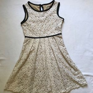 Girls lace dress with leather trim